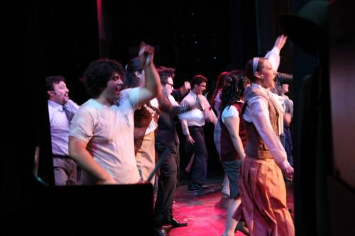 Finale of 9 to 5 with some of the crazy cast.  Photo by B. Heninger